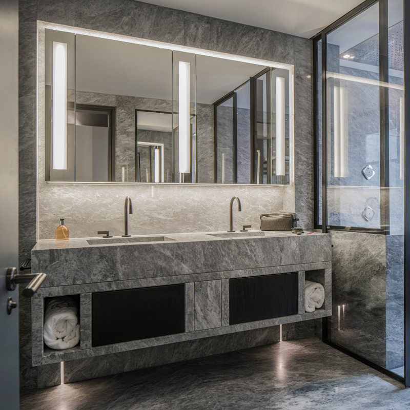 bathroom and cloakroom LED lights with backlit mirrors