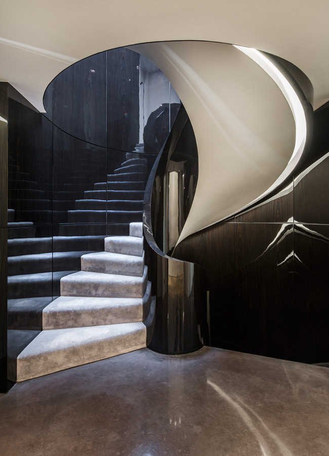 LED lit stairwell and hallway