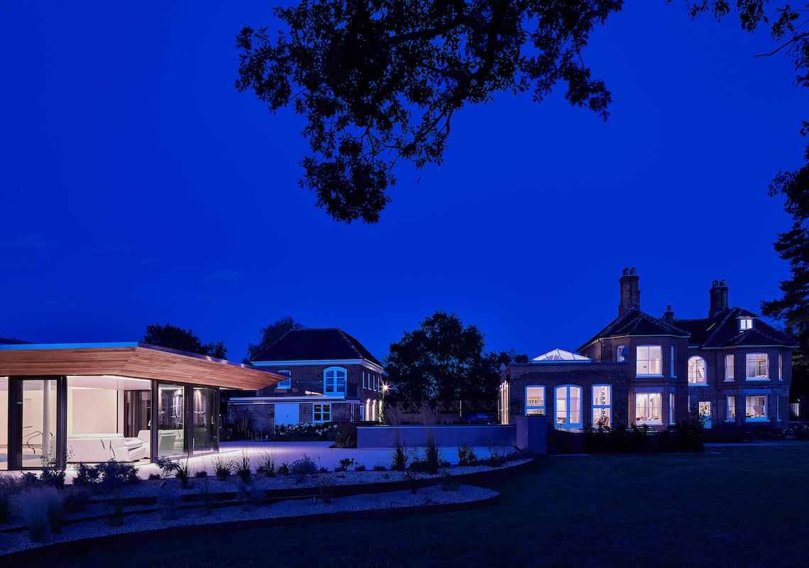 Soft lighting on Pool house